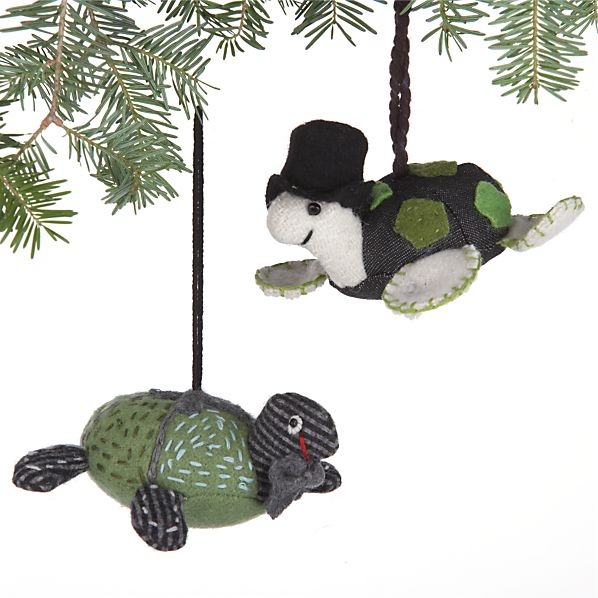 Set of 2 Denim and Tweed Turtle Ornaments