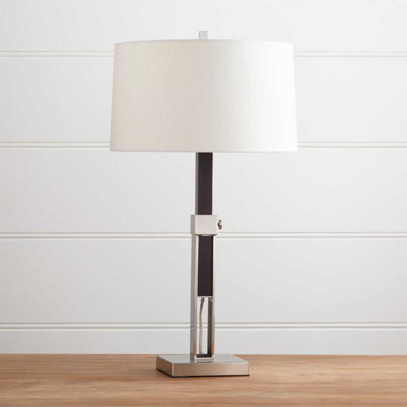 denley nickel table lamp with black wood crate and barrel. Black Bedroom Furniture Sets. Home Design Ideas