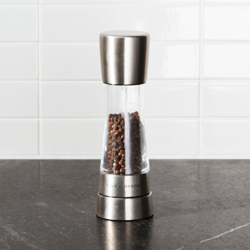 Premium spring-loaded mill provides superior grinding of pepper for the home chef. Stainless steel and view-through acrylic mill features machine-cut ceramic mechanism with six preset grinds, each of which produces a consistent grind with every use. The mill's specially designed top which simply pulls off and makes it super easy to fill. There is no need to unscrew anything and the top just pops back on afterwards with a simple push down.<br /><br /><NEWTAG/><ul><li>Stainless steel base and top</li><li>Clear acrylic body</li><li>Machine-cut ceramic mechanism</li><li>6 preset grinds</li><li>Clean with a damp cloth</li><li>Made in China</li></ul>
