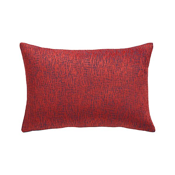 "Devin Red 18""x12"" Pillow with Down-Alternative Insert"
