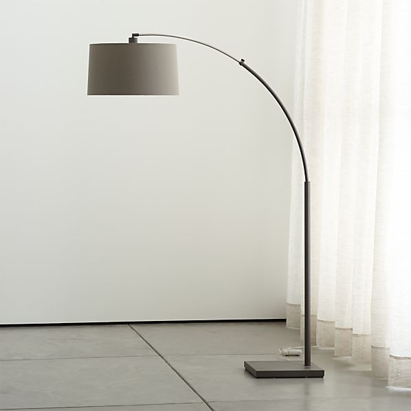 Dexter Arc Floor Lamp With Grey Shade In Floor Lamps