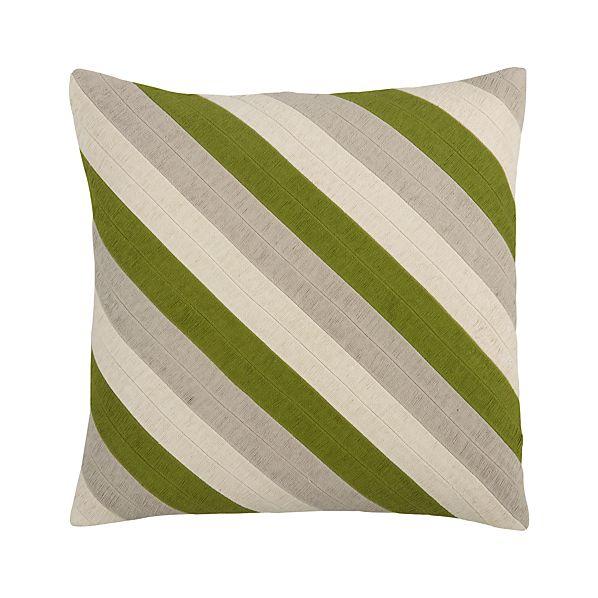 "Diagonal Green 20"" Pillow"
