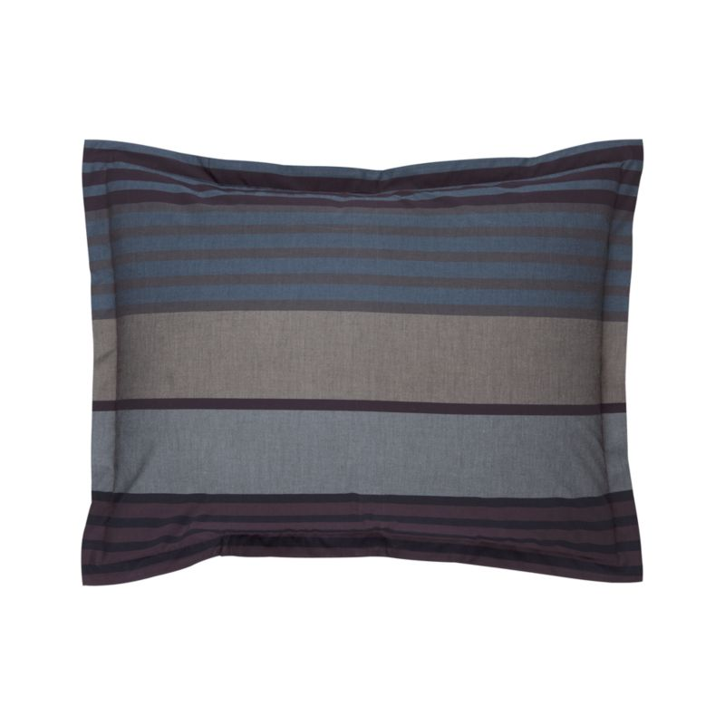 """Layer the bed in a handsome, horizontal chambray multi-stripe in rich tones of blue, grey and plum. Pillow shams have a 1"""" flange and generous overlapping back closure. Cotton percale is combed to reduce pilling.<br /><br /><NEWTAG/><ul><li>100% combed cotton percale</li><li>200-thread-count</li><li>Machine wash</li></ul><br />"""