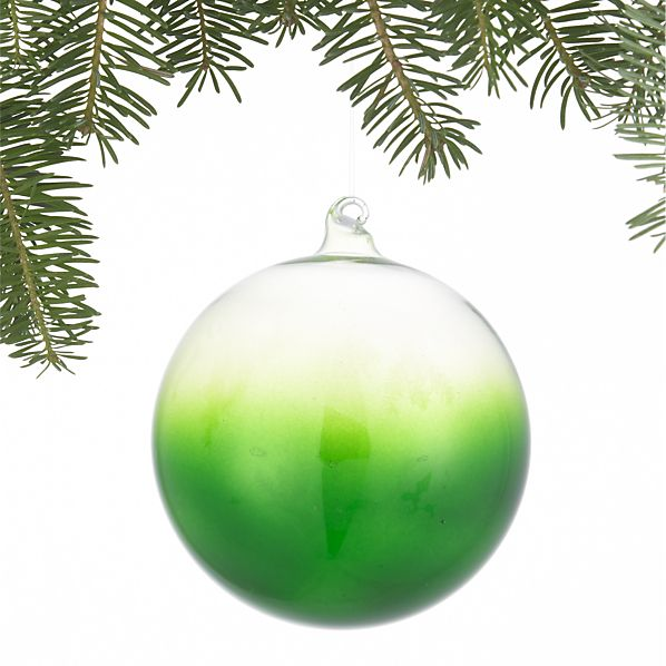 Dip-Dyed Green Ball Ornament