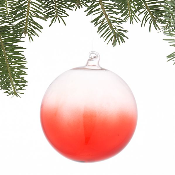 Dip-Dyed Red Ball Ornament