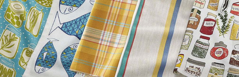 Various dishtowels in spring patterns
