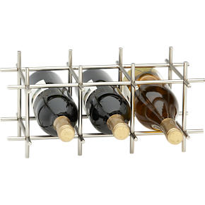 Division Nickel Six-Bottle Wine Rack -...