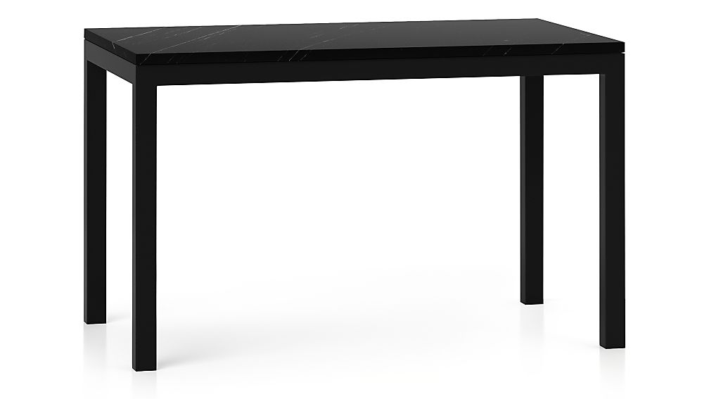 Parsons Black Marble Top/ Dark Steel Base 48x28 Dining Table