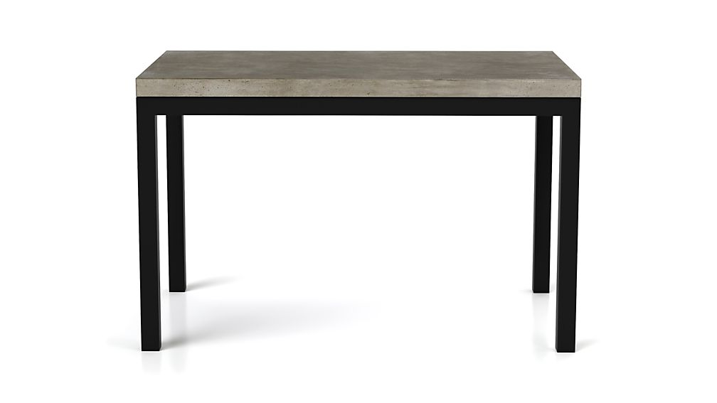 Concrete Top/ Natural Dark Steel Base 60x36 Parsons Dining Table