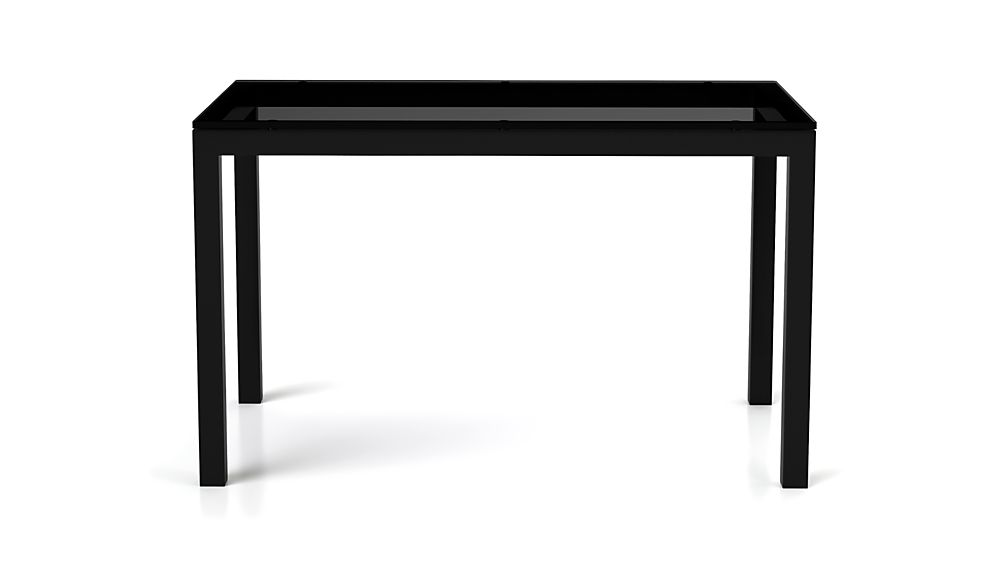 Grey Glass Top/ Dark Steel 72x42 Base Parsons Dining Table