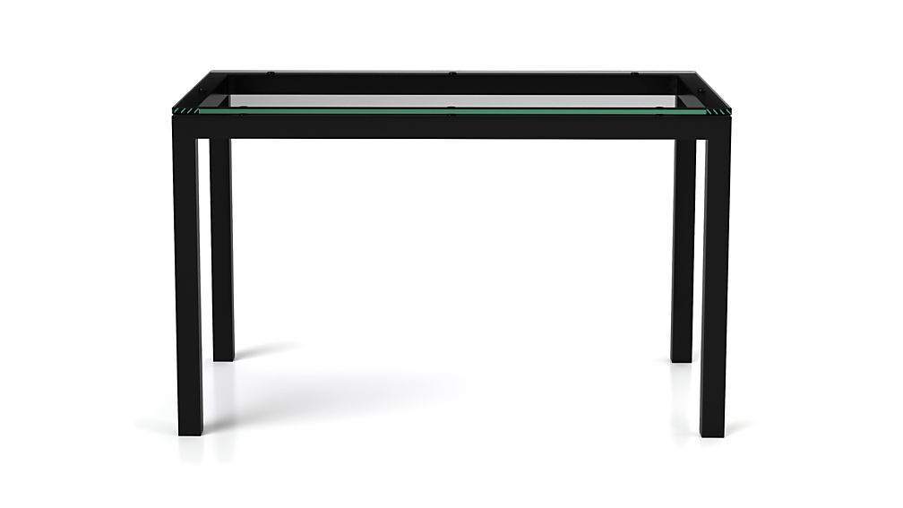 Clear Glass Top/ Natural Dark Steel Base 72x42 Parsons Dining Table