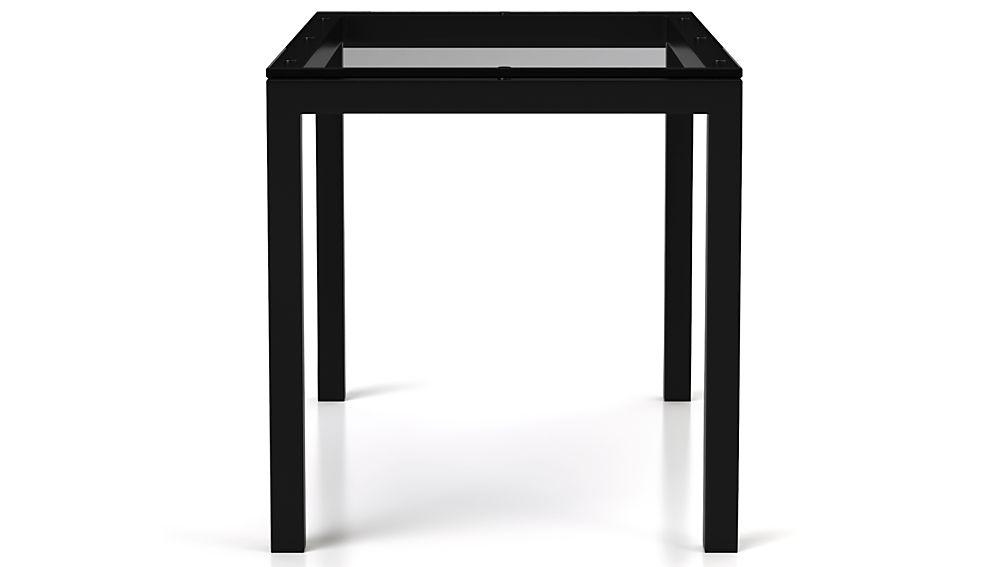 Clear Glass Top/ Natural Dark Steel Base 48x28 Parsons Dining Table