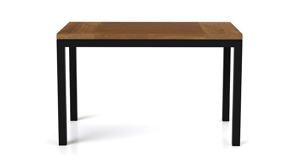 Teak Top/ Natural Dark Steel Base 72x42 Parsons Dining Table