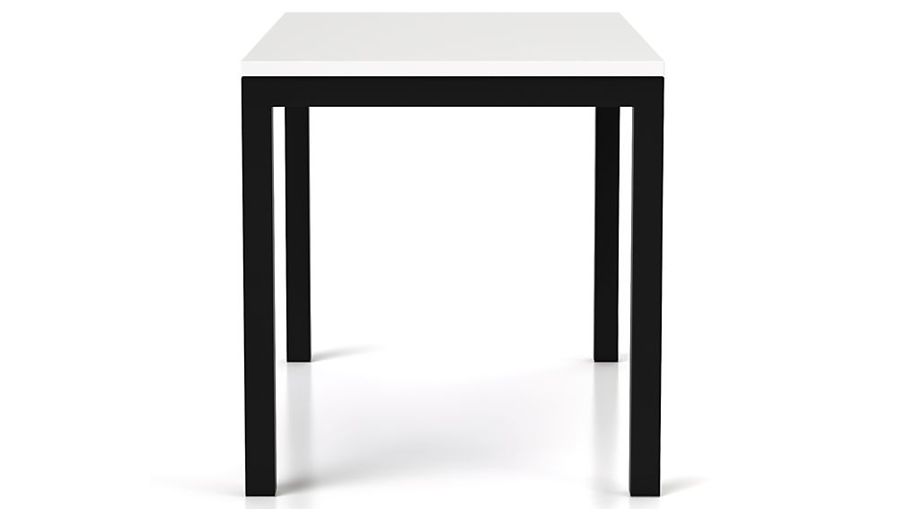 White Top/ Natural Dark Steel Base 72x42 Parsons Dining Table