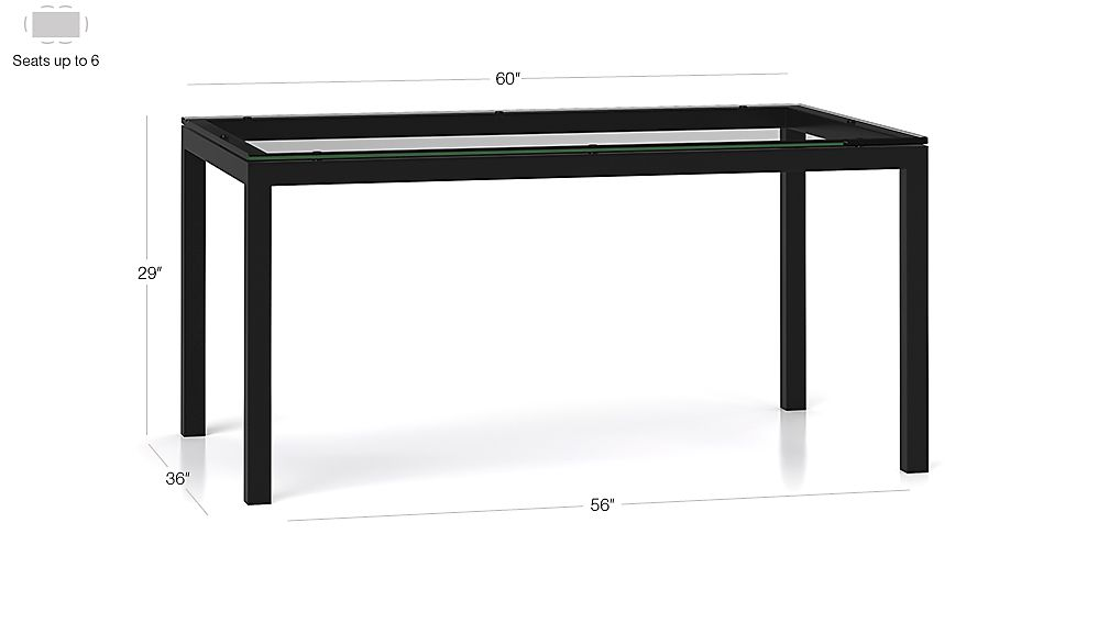 Clear glass top natural dark steel base 60x36 parsons for Glass top dining table 36 x 60