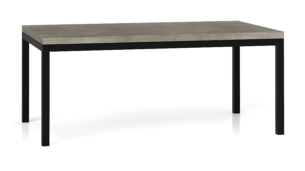 Concrete Top/ Natural Dark Steel Base 72x42 Parsons Dining Table