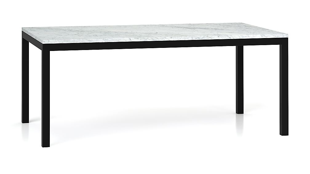 Marble Top/ Dark Steel Base 72x42 Parsons Dining Table