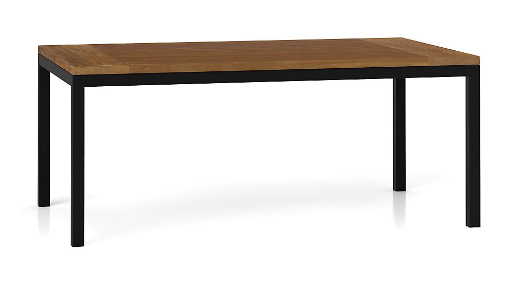 Teak Top/ Natural Dark Steel Base 72x42 Parsons Dining Table