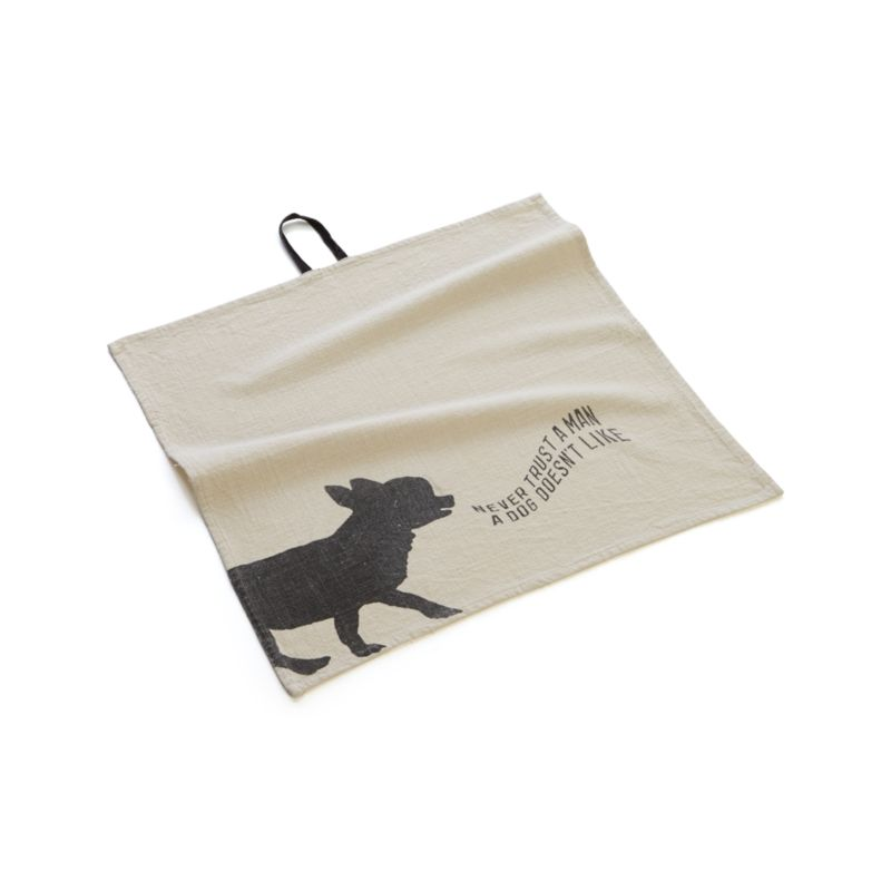 "Soft stone-washed cotton towels with silhouette animals, witty sayings and center hanging loops represent functional art in the form of a bar towel or oversized napkin. Dog towel says ""Never trust a man a dog doesn't like.""<br /><br /><NEWTAG/><ul><li>100% cotton</li><li>Machine wash</li><li>Made in India</li></ul>"