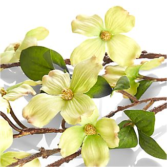 Dogwood's delicate light green blossoms are recreated in this lifelike stem that adds a breath of spring to any room.