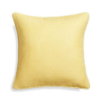 "Dorsay Lemon Yellow 18"" Pillow with Feather-Down Insert"