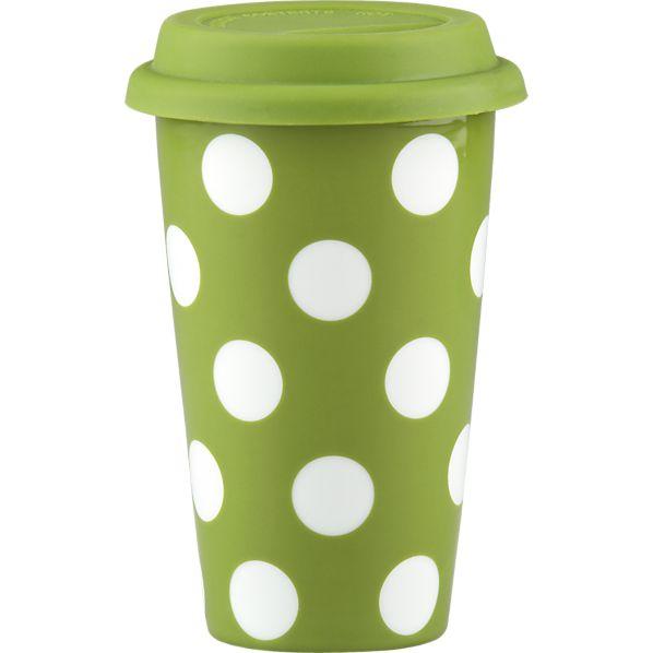 Dot Mug Green with Silicone Lid