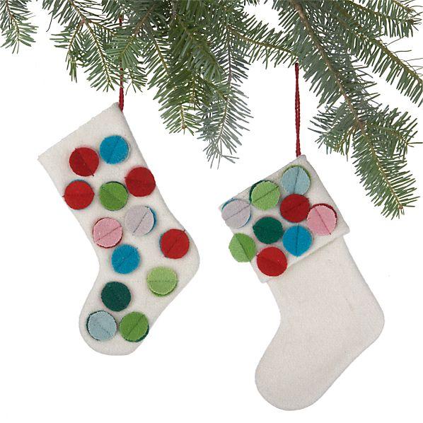 Set of 2 Dot Stocking Ornaments