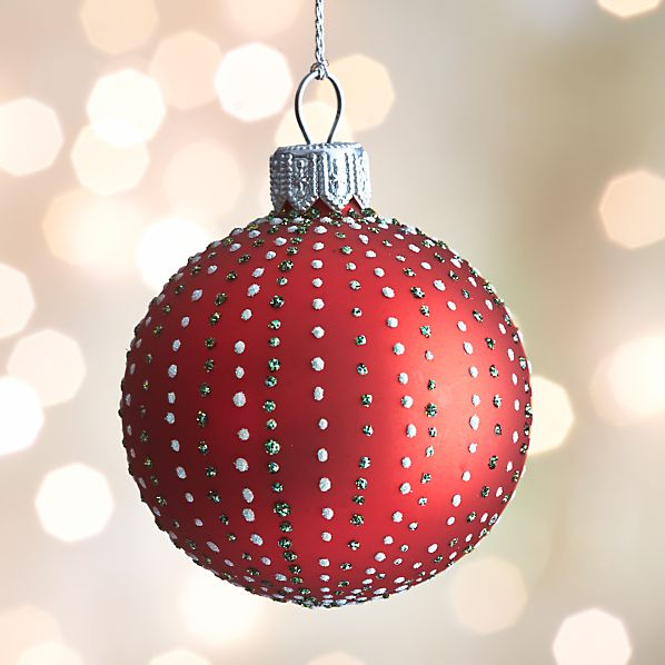 Red Dot Stripe Ball Ornament