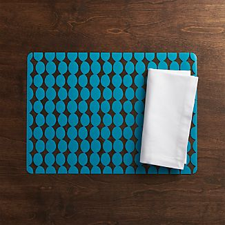 Dots Aqua Placemat and Fete White Napkin