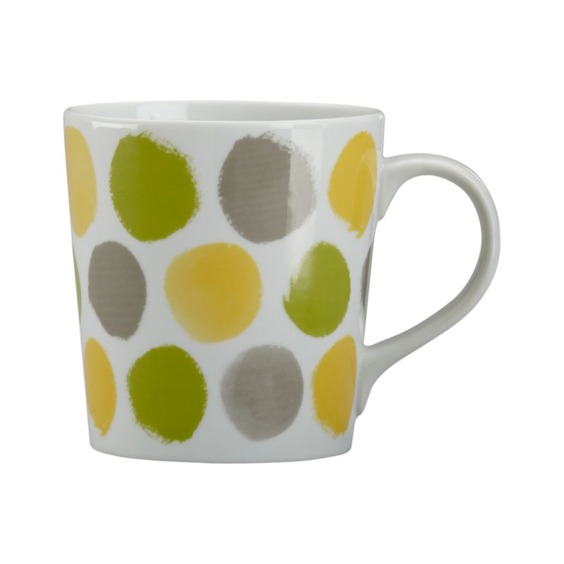Graphic white porcelain mug sends out the call in painterly dots in attention-getting brights.<br /><br /><NEWTAG/><ul><li>Porcelain</li><li>Dishwasher-, microwave-, freezer- and oven-safe</li><li>Made in China</li></ul>