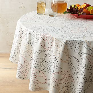 "Dotted Leaf 90"" Round Tablecloth"