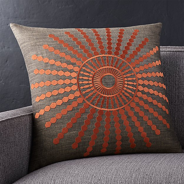 """Doucette Rust 20"""" Pillow with Feather-Down Insert"""