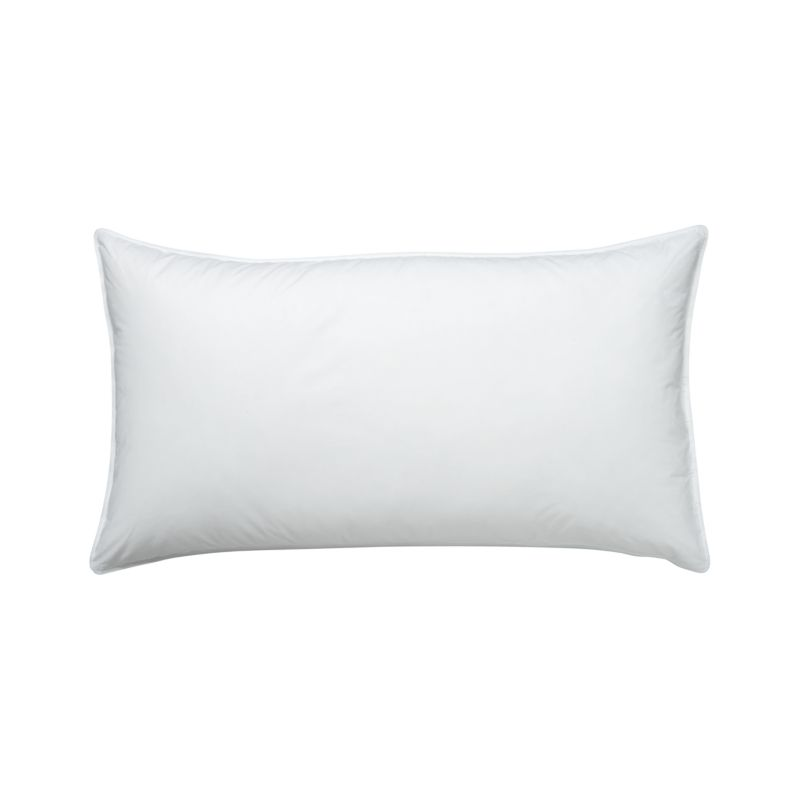 """For those who prefer a firmer pillow, the feathers in this blended-fill pillow feature natural """"spines,"""" which make for a more substantial feel. The core support of the feathers is wrapped in the fluffy luxury of domestic duck down for a superior-quality pillow with nothing but pure white fill. The preshrunk cambric cotton shell is closely woven to keep the fill inside. <a href=/down-alternative-bed-pillows/f23129>Down Alternative Bed Pillows</a> and <a href=/premium-down-bed-pillows/f58248>Premium Down Bed Pillows</a> also available.<br /><br /><NEWTAG/><ul><li>100% cambric cotton shell (230-thread-count)</li><li>80% white duck feather, 20% snow-white domestic down</li><li>Finished with double-needle stitching and cotton cording</li><li>Machine wash in warm water, like colors, no bleach</li><li>Tumble dry, medium heat until thoroughly dry</li><li>For best results, professional laundering is recommended</li><li>Do not dry clean</li><li>Made in USA and China of domestic and imported materials</li></ul><br />"""
