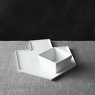 Dreidel Shaped White Platter with Dip Bowl