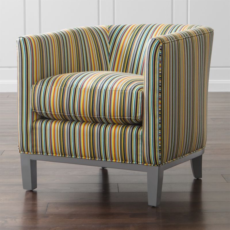 Pencil-thin stripes in rich hues with a subtle sheen round the curves of this impeccably tailored living room chair. Drew's classic barrel back chair silhouette is striking from all angles with precisely matched seams and self-welting. <NEWTAG/><ul><li>Frame is benchmade with certified sustainable, kiln-dried hardwood</li><li>Sinuous wire spring suspension system</li><li>Soy-based polyfoam seat cushion with feather-down blend encased in downproof ticking</li><li>Soy-based polyfoam tight back cushion</li><li>Made in North Carolina, USA</li></ul>