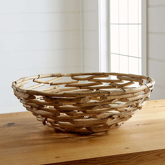 Driftwood centerpiece bowl crate and barrel