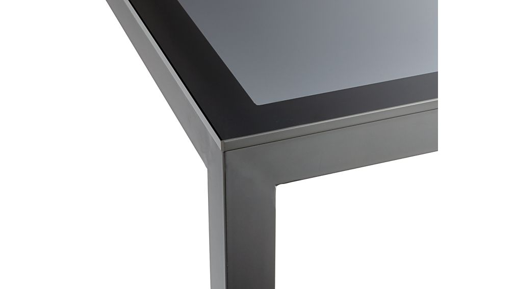 Grey Glass Top/ Dark Steel 48x28 Base Parsons Dining Table