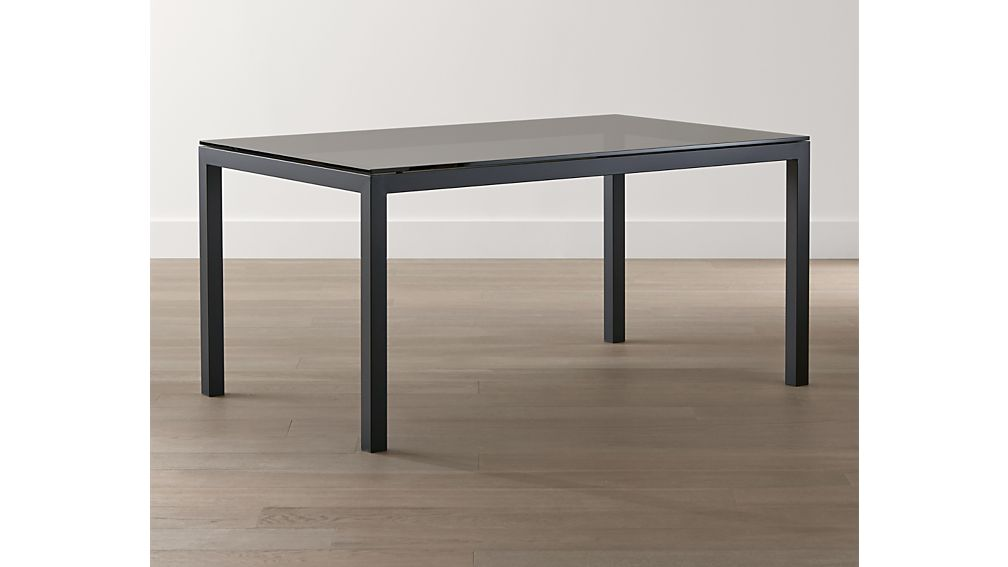 Grey Glass Top/ Dark Steel 48x28 Base Parsons High Dining Table