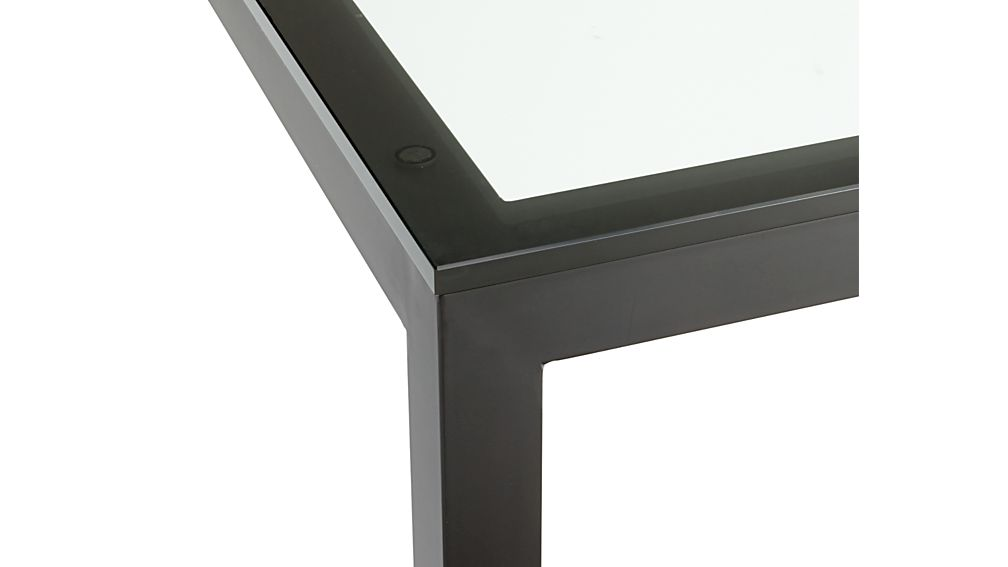 Clear Glass Top/ Natural Dark Steel Base 60x36 Parsons Dining Table
