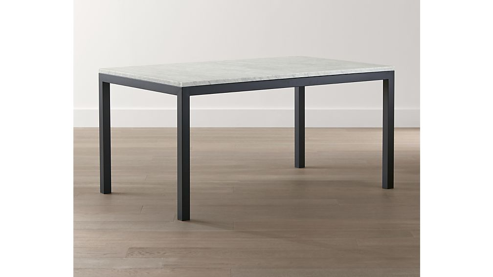 Marble Top/ Dark Steel Base 60x36 Parsons Dining Table