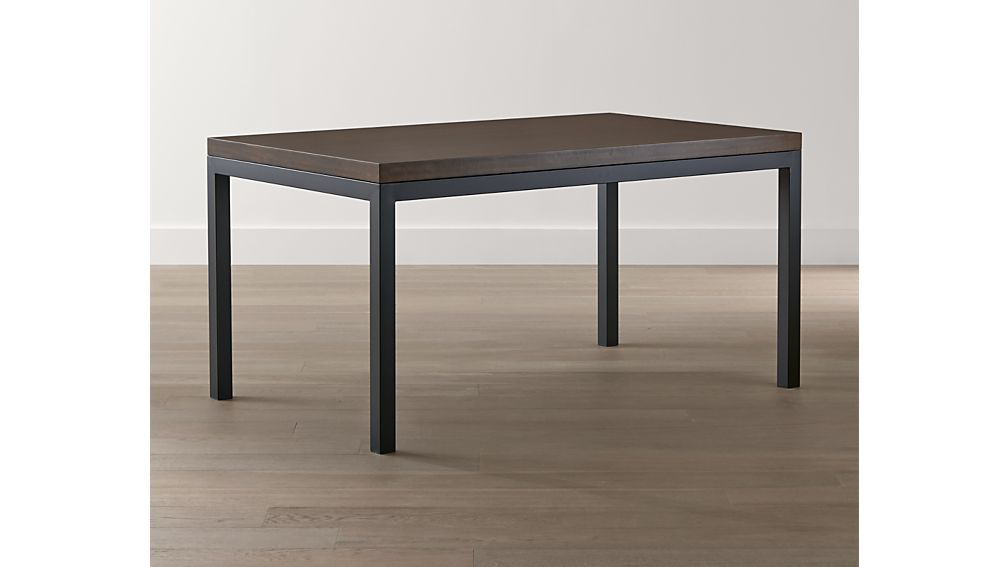 Myrtle Top/ Natural Dark Steel Base 72x42 Parsons Dining Table