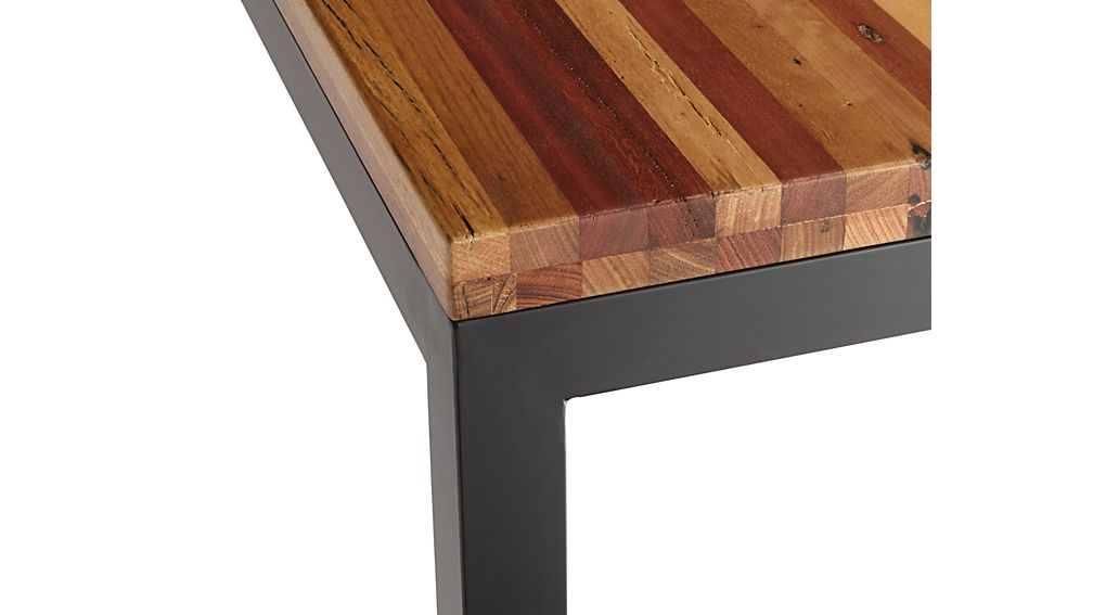 Reclaimed Wood Top Natural Dark Steel Base 48x28 Parsons High Dining Table