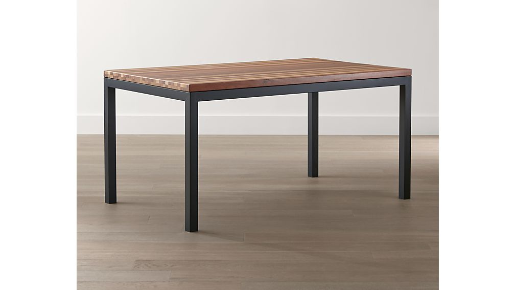 Reclaimed Wood Top/ Natural Dark Steel Base 60x36 Parsons Dining Table