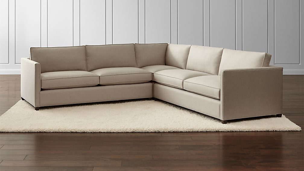 Dryden 3 Piece Corner Sectional Diamond Flax Crate And