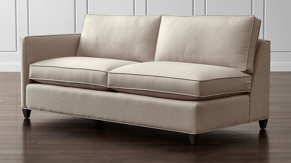 Elegant Dryden Left Arm Apartment Sofa Diamond Flax Crate And