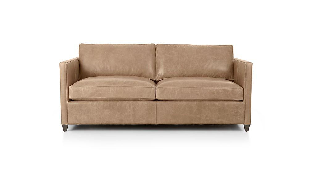 dryden leather apartment sofa libby mushroom crate and