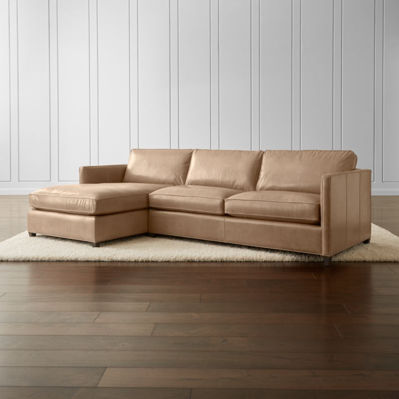 Dryden Leather 2-Piece Left Arm Chaise Sectional