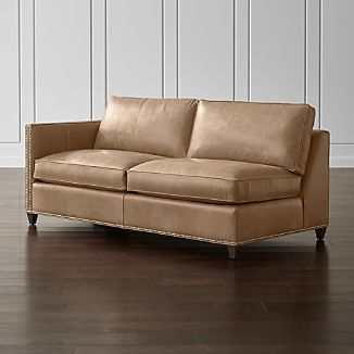 Dryden Leather Left Arm Apartment Sofa with Nailheads