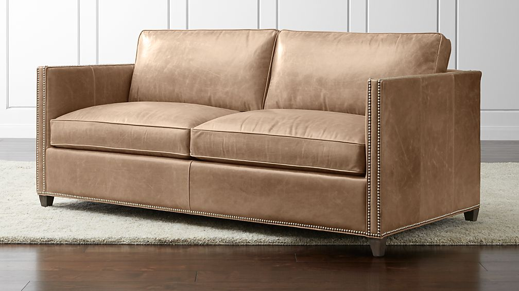 dryden leather apartment sofa with nailheads libby
