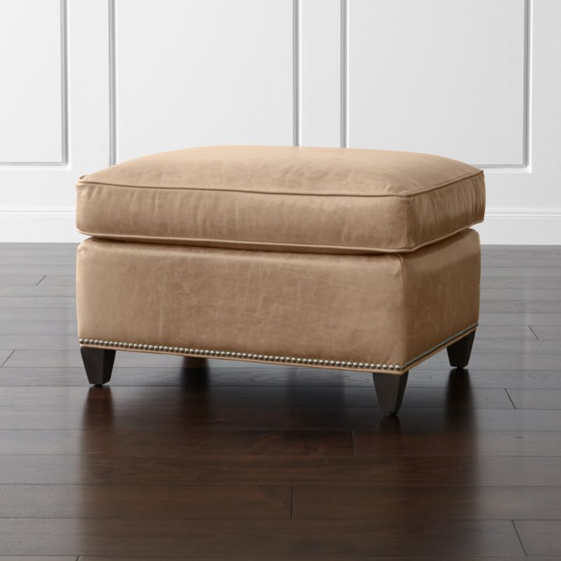 Dryden leather ottoman with nailheads libby mushroom for Crate and barrel pouf